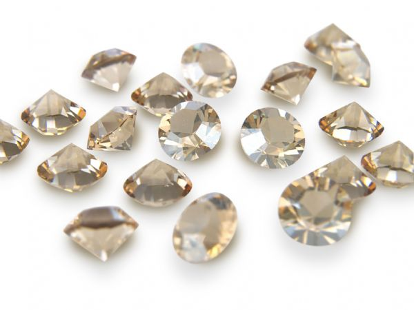 1088 UNFOILED Round Pointed Back Crystals, Golden Shadow